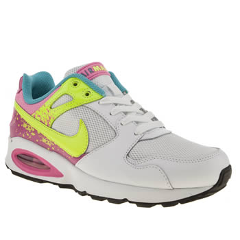 womens nike white & yellow air max coliseum trainers