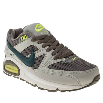 womens nike grey & lime air max command trainers