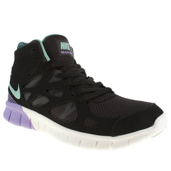 womens nike black & purple free run v2 mid trainers