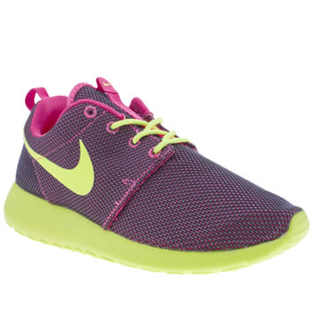 womens nike black & lime roshe run trainers