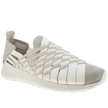Womens Nike White & grey Roshe Run Woven Trainers