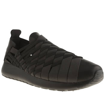 Womens Nike Black Roshe Run Woven Trainers