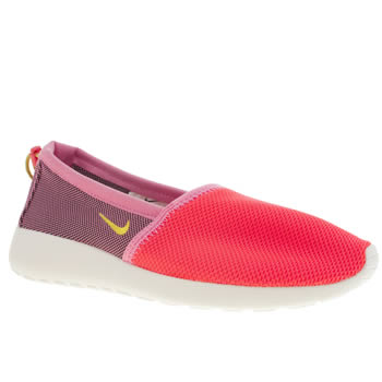 womens nike pink roshe run slip on trainers