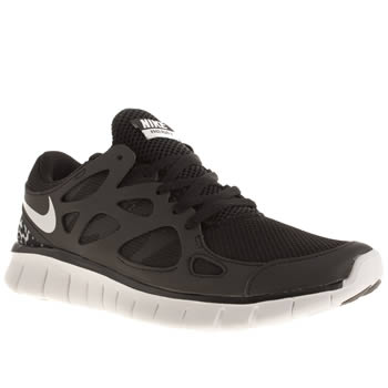 womens nike black & white free run v2 trainers