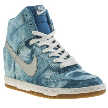 Womens Nike Blue Dunk Sky Hi Trainers