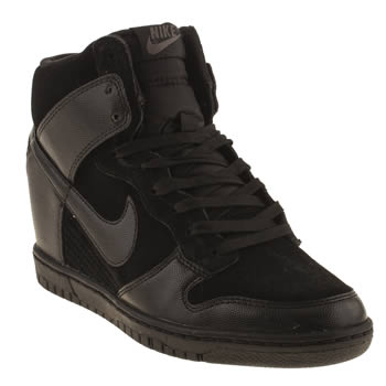 womens nike black dunk sky hi trainers