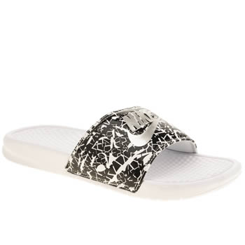 Womens Nike White & Silver Benassi Pool Slide Sandals