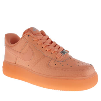 Womens Nike Orange Air Force 1 Low Shimmer Trainers