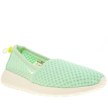 Womens Nike Light Green Roshe Run Slip Trainers