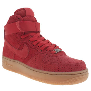 Nike Red Air Force 1 Hi Suede Trainers
