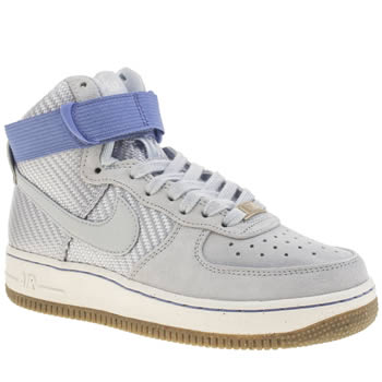 Womens Nike Pale Blue Air Force 1 Hi Trainers