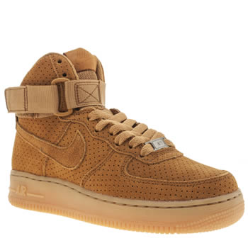 Nike Tan Air Force 1 Hi Suede Trainers
