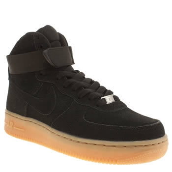 Nike Black Air Force 1 Hi Suede Trainers
