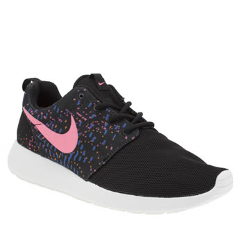 Nike Black & pink Roshe One Print Trainers
