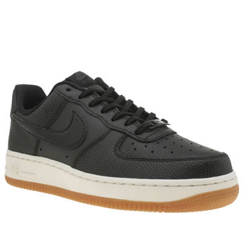 Nike Black & White Air Force 1 Leather Womens Trainers