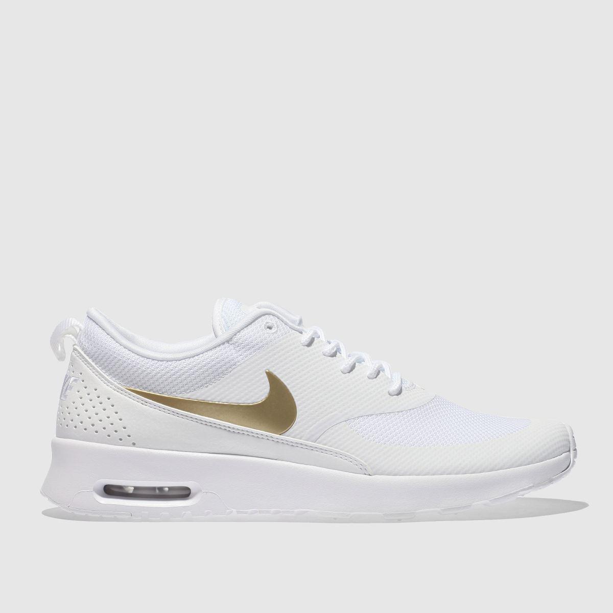 Nike White & Gold Air Max Thea Trainers