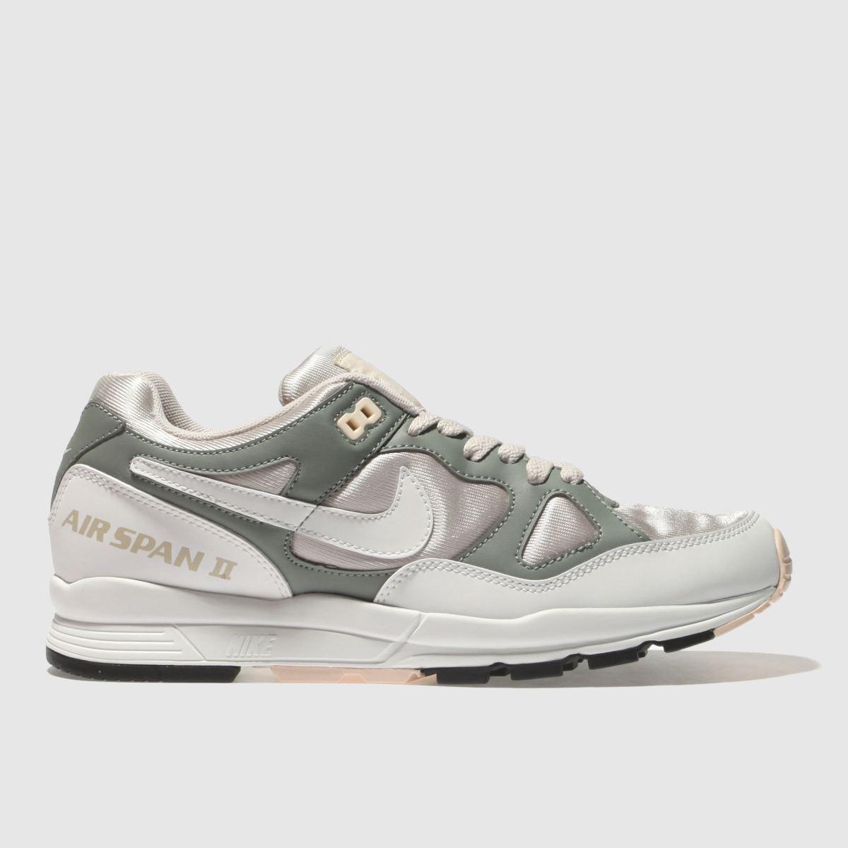 Nike White & Green Air Span Ii Trainers