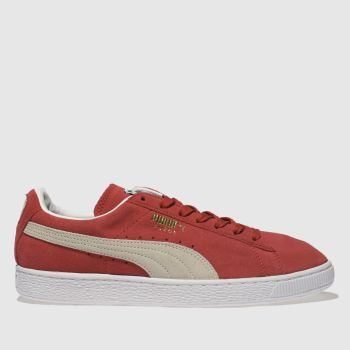 Puma White & Red Suede Classic Womens Trainers
