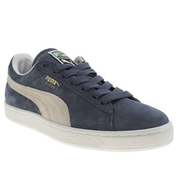 Puma Navy & White Suede Classic Trainers