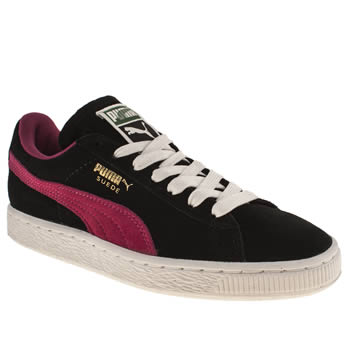 Womens Puma Black & pink Suede Classic Trainers