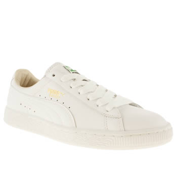 Womens Puma White Basket Leather Trainers