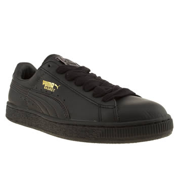 Womens Puma Black Basket Trainers