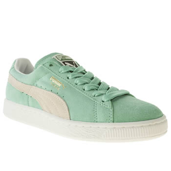 womens puma light green suede classic iv trainers