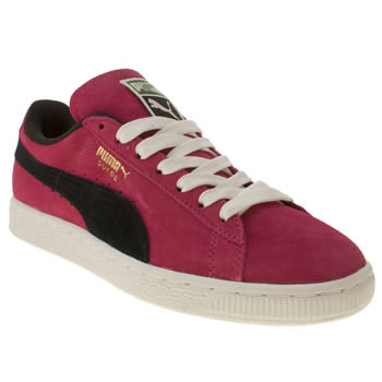 womens puma pink & black suede classic iv trainers