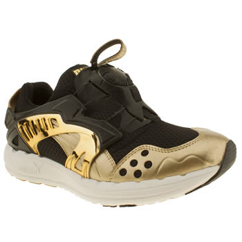 womens puma black & gold future disc lite trainers