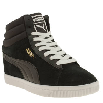 womens puma black & white classic wedge trainers