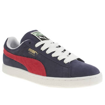 Womens Puma Navy & White Suede Classic Trainers