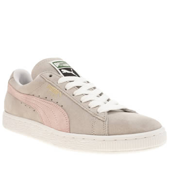Puma Light Grey Suede Classic Trainers