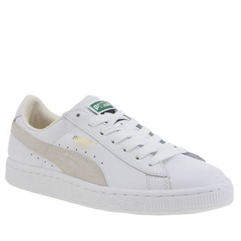 Womens Puma White Basket Classic Trainers
