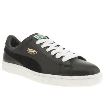 Womens Puma Black & White Basket Classic Trainers