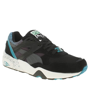 Womens Puma Black and blue R698 Trinomic Trainers