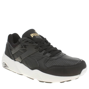Womens Puma Black & White R698 Trinomic Trainers