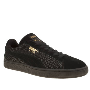 Puma Black Suede Gold Trainers