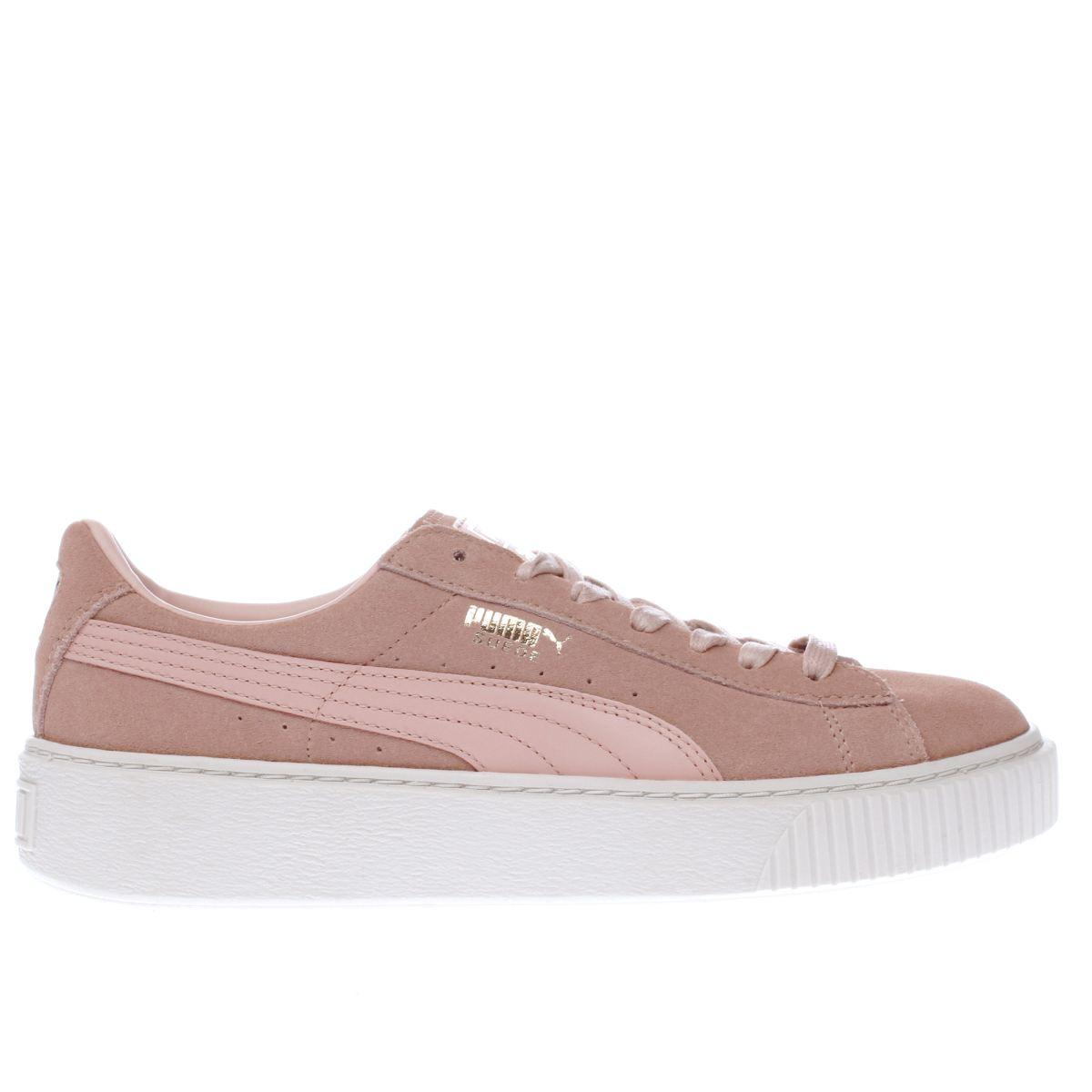 puma pale pink suede platform trainers