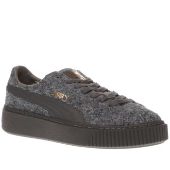 Puma Grey Suede Platform Elemental Womens Trainers