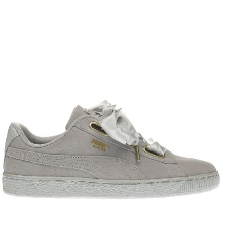 women 39 s light grey puma suede heart satin trainers schuh. Black Bedroom Furniture Sets. Home Design Ideas