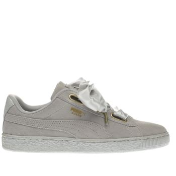 Puma Light Grey Suede Heart Satin Trainers
