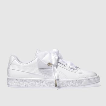 Puma White Basket Heart Patent Womens Trainers