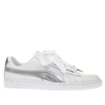 Puma White & Silver Basket Heart Explosive Womens Trainers