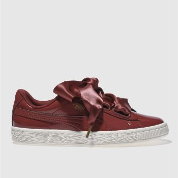 Puma Burgundy Basket Heart Womens Trainers