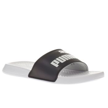Puma White & Black Popcat Swan Womens Sandals