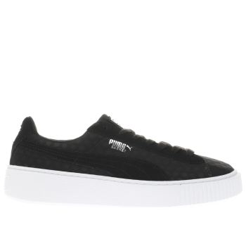 Puma Black Basket Platform De Womens Trainers