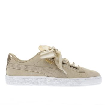 Puma Beige Basket Heart Met Safari Womens Trainers