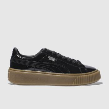 Puma Black Basket Platform Patent Womens Trainers