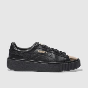 Puma Black Basket Platform Metallic Womens Trainers