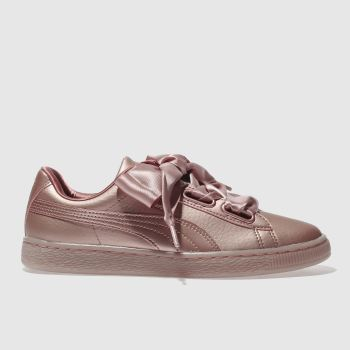 Puma Pink Basket Heart Copper Womens Trainers